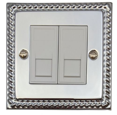 G&H MC64W Monarch Roped Polished Chrome 2 Gang Slave BT Telephone Socket